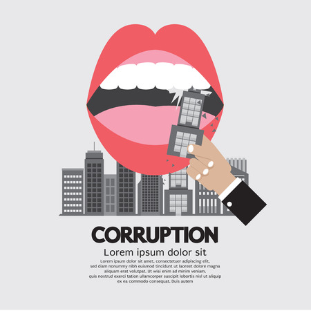 corruption: Building Was Eaten Corruption Concept Vector Illustration