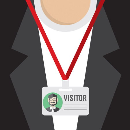 visitors: Flat Design Visitor Pass Vector Illustration