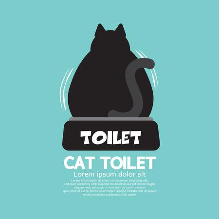 defecate: Backside Di Un Gatto Utilizzando igienici illustrazione vettoriale
