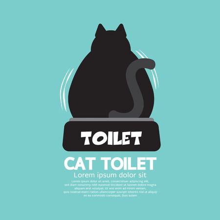 defecate: Backside Of A Cat Using Toilet Vector Illustration