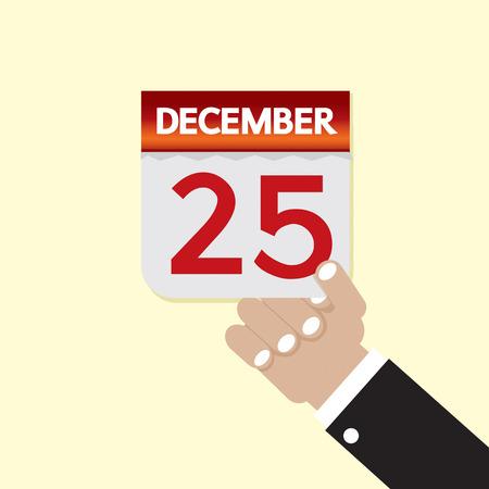 december 25th: 25th December Calendar Vector Illustration