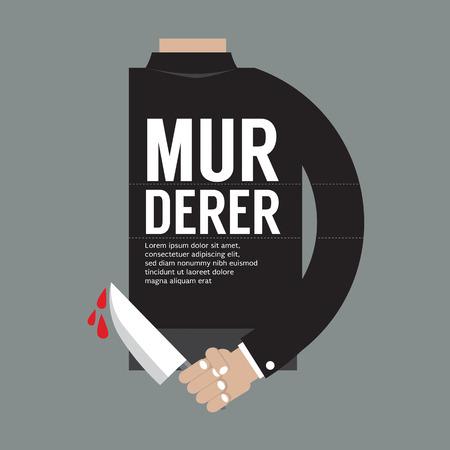 Couteau sanglant dans la main Vector illustration Murderer Vecteurs
