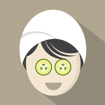 woman vector: Woman With Cucumber Pieces On Face Vector Illustration