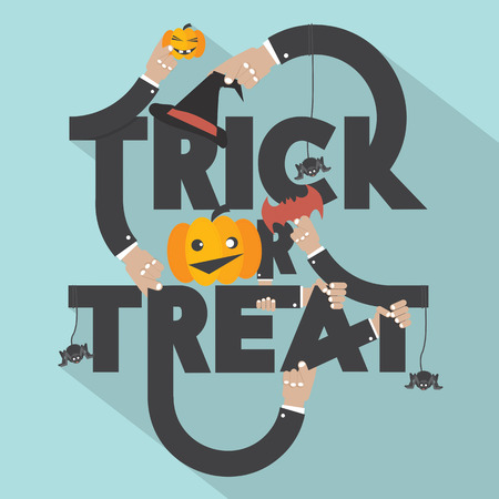 treat: Trick or Treat Typography Design Vector Illustration