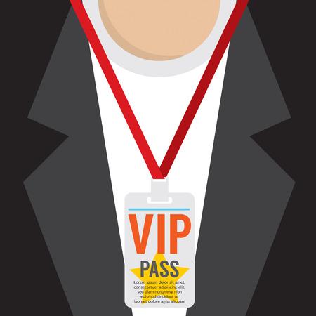press conference: Flat Design VIP Lanyard Vector Illustration