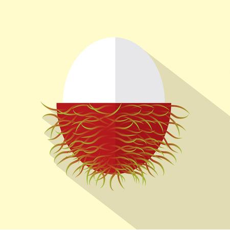 rambutan: Flat Design Rambutan Icon Vector Illustration