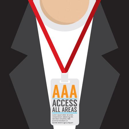 access card: Flat Design Access All Area Staff Card Vector Illustration