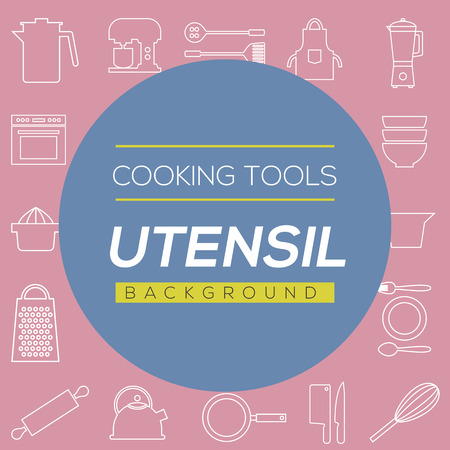 preparing food: Cooking Tools And Utensil Background Vector Illustration