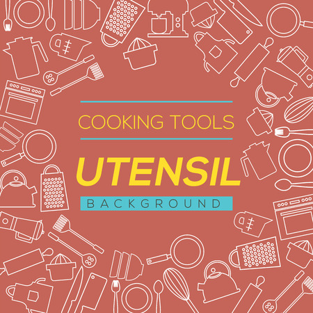 wire whisk: Cooking Tools And Utensil Background Vector Illustration
