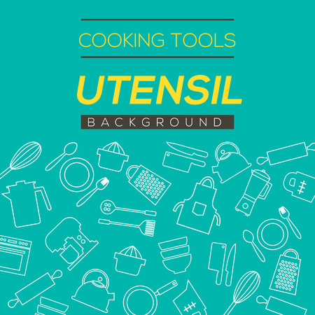 food processor: Cooking Tools And Utensil Background Vector Illustration