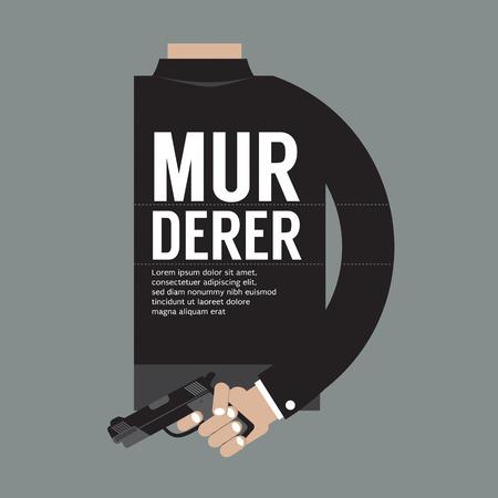 Gun In Murderer's Hand Vector Illustration