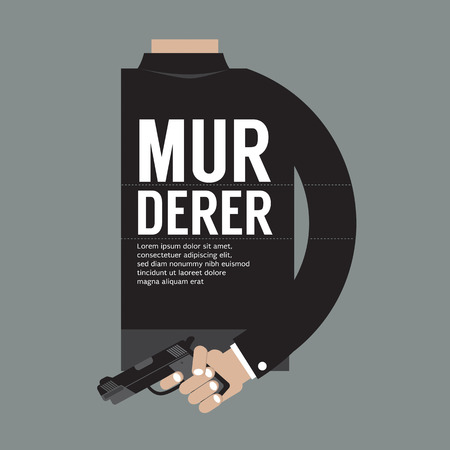 thriller: Gun In Murderers Hand Vector Illustration Illustration