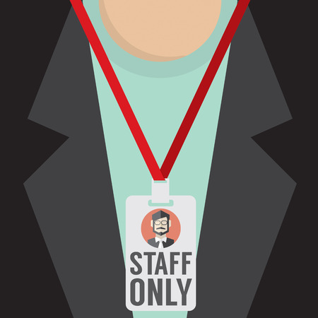 permit: Staff Only Lanyard Vector Illustration Illustration