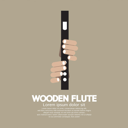 blow hole: Wooden Flute With Hands Vector Illustration