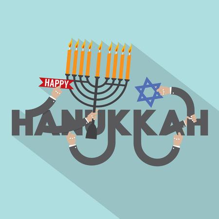 channukah: Happy Hanukkah Typography Design Vector Illustration