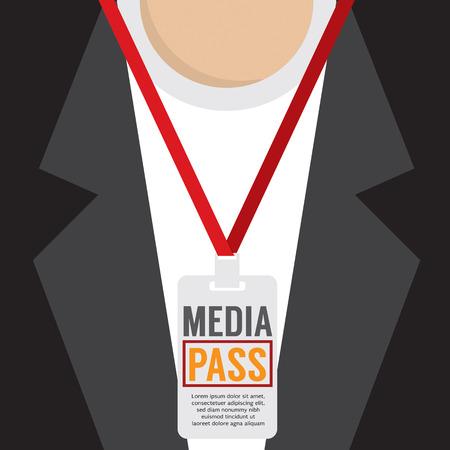 visitors area: Media Pass Lanyard Vector Illustration