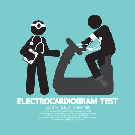 medical attendance: Electrocardiogram Test Vector Illustration Illustration