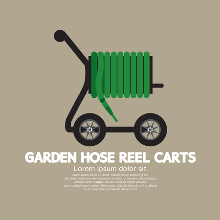 gardening hose: Garden Hose Reel Carts Vector Illustration Illustration