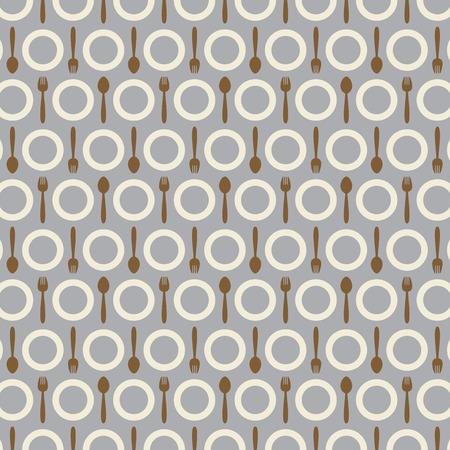 plate: Utensil Pattern Background Vector Illustration