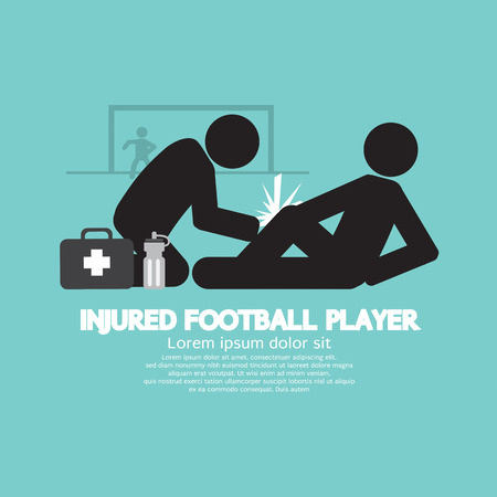 deportes colectivos: Lesionado Ilustraci�n vectorial Jugador de f�tbol