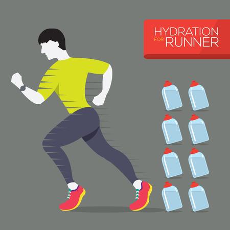 athlete running: Runner With Hydration Bottles Vector Illustration Illustration