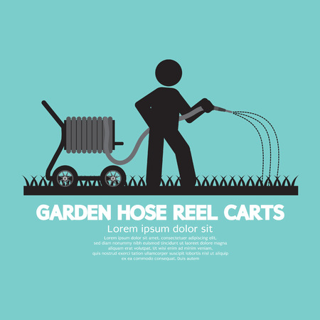 sprinkling: Garden Hose Reel Carts Vector Illustration Illustration