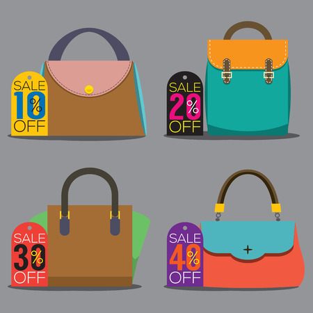thirty percent off: Women Bags With Sale Tags Vector Illustration Illustration