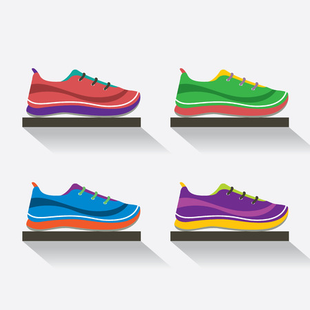 Side View Of Running Shoes On Shelf Vector Illustration
