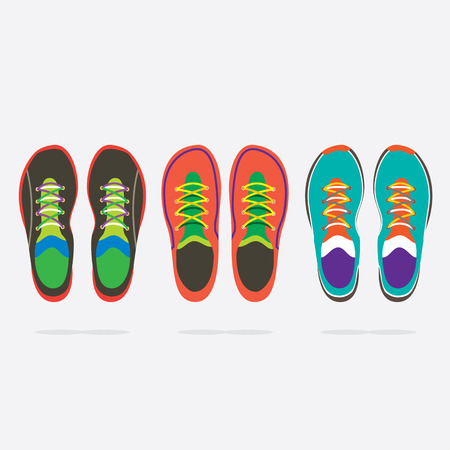 training shoes: Top View Of Colorful Running Shoes Vector Illustration