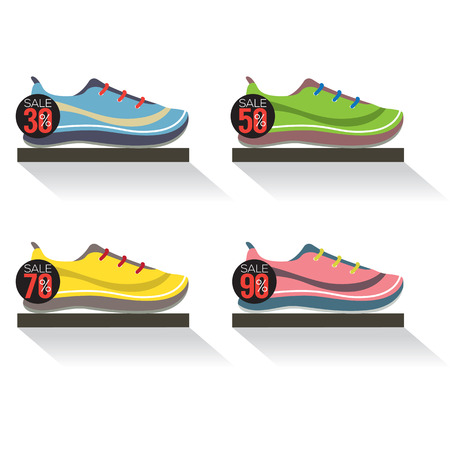 running shoes: Side View Of Running Shoes On Shelf Vector Illustration