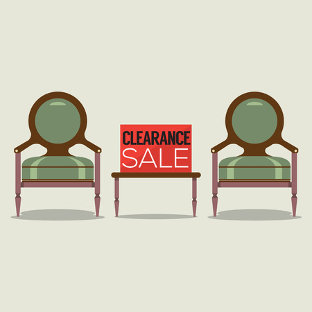 old furniture: Clearance Sale Vintage Chairs  Vector Illustration