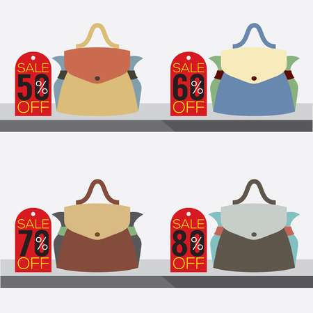 60 70: Women Bags With Sale Tags Vector Illustration Illustration