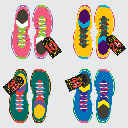 flat shoes: Top View Of Running Shoes Vector Illustration