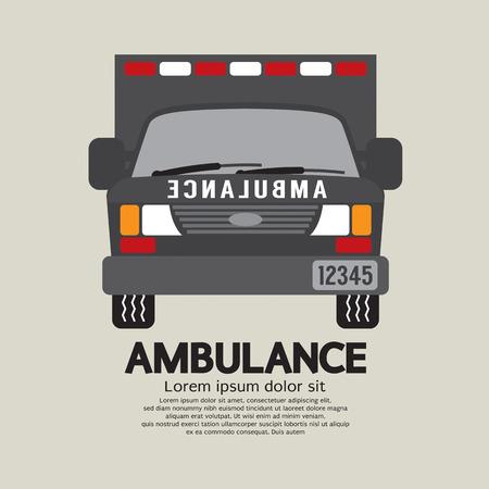 emt: Front View Of Ambulance Vector Illustration