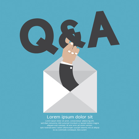hands holding sign: Q&A Typography In Hand Vector Illustration Illustration