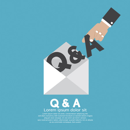 qa: Q&A Letter In Hand Vector Illustration