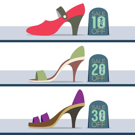 shoes off: Colorful High Heel Shoes On Sale Vector Illustration Illustration
