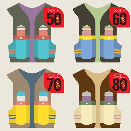 hydration: Colorful  Hydration Vest On Sale Vector Illustration