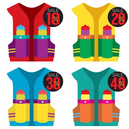 running off: Colorful  Hydration Vest On Sale Vector Illustration