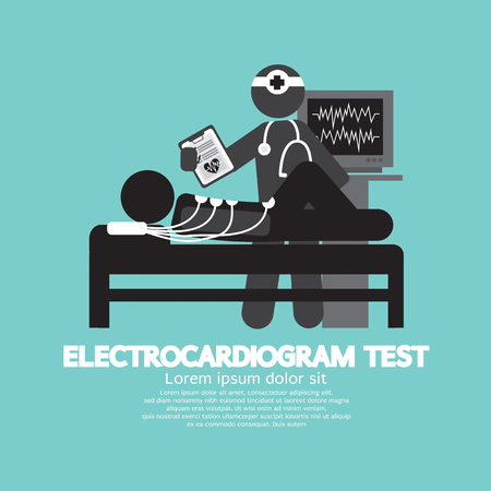 Electrocardiogram Test Vector Illustration Çizim