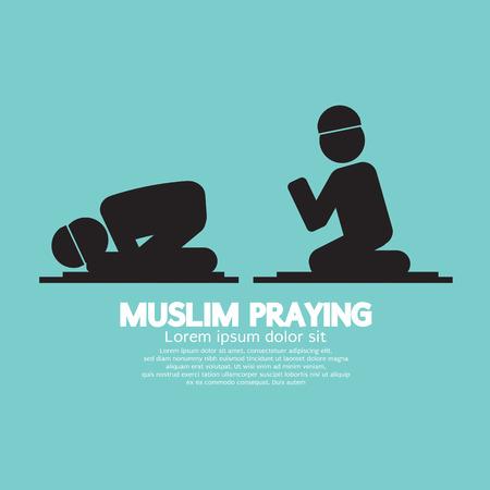 orando: Musulmana Orar Ilustración Símbolo Vector
