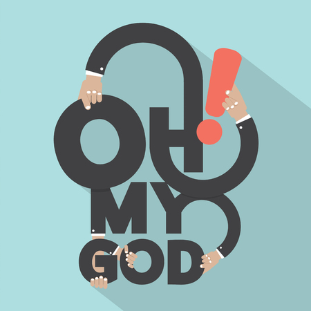 in amazement: Oh My God Typography Design Vector Illustration Illustration