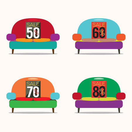 armchair shopping: Set Of Vintage Sofas On Sale Vector Illustration