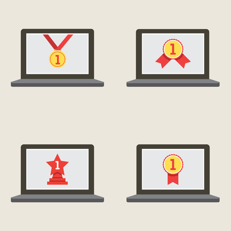 laptop screen: Set Of Champion Badge In Laptop Screen Vector Illustration Illustration