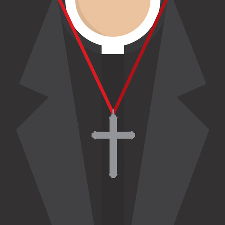 clergy: Cross Lanyard On On Priests Neck Vector Illustration