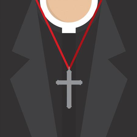 rood: Cross Lanyard On On Priests Neck Vector Illustration