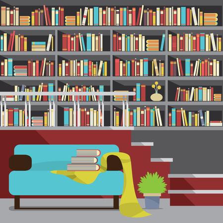 reading room: Vintage Interior Reading Room Vector Illustration
