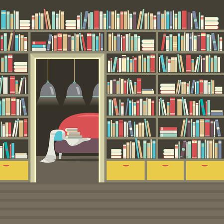 living wisdom: Vintage Interior Reading Room Vector Illustration
