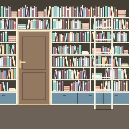 library book: Vintage Huge Bookcase In Library Vector Illustration