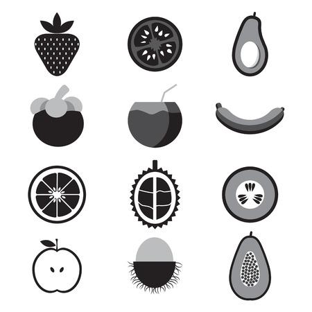 rambutan: fruit Icon Set Vector Illustration